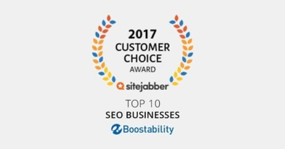 Boostability wins Sitejabber's 2017 customer choice award for top SEO business.