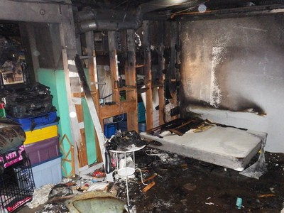 Tenants of this home involved in an electrical fire reported that the trippers had been tripping regularly for the last four and a half years. (CNW Group/Technical Safety BC)