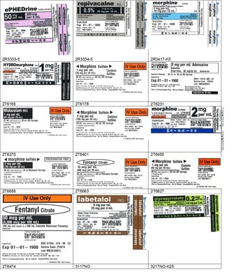 Sample labels - for lot numbers, refer to table.