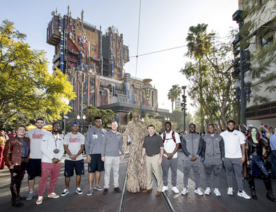 ROSE BOWL TEAMS VISIT DISNEYLAND RESORT (December 27, 2017) – No. 2 Oklahoma Sooners and No. 3 Georgia Bulldogs made their first official appearances of the Rose Bowl Game week on Wednesday, Dec. 27, 2017, with a special ceremony at Disney California Adventure Park in Anaheim, Calif. Players and coaches from both teams are pictured with Groot, Gamora and Star-Lord at the Guardians of the Galaxy – Mission: BREAKOUT! attraction. The teams will play in the 104th Rose Bowl game on Monday, January 1, 2018. (Joshua Sudock/Disneyland Resort)