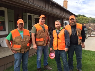 WWP pheasant hunters don safety gear before their hunt session.