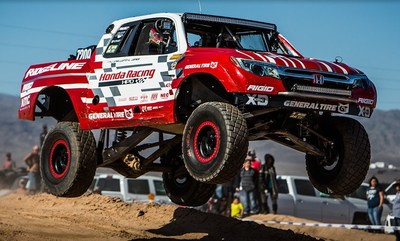 """The Honda Off-Road Racing Team and its Ridgeline Baja Race Truck opened the 2018 off-road racing season with a decisive victory in the """"7200� class for V6-powered race trucks in Saturday's Parker 425."""