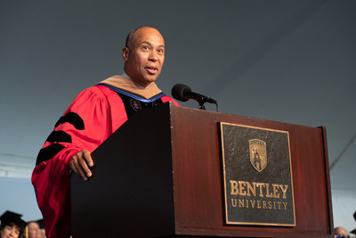 """Former Massachusetts Governor Deval Patrick challenged graduates at Bentley University's undergraduate commencement ceremony to be a voice for others and """"seek purpose not prestige"""" at this time in history when """"the world around us is in turmoil."""" Approximately 8,000 people attended the ceremony, which was held on May 19, 2018, in Waltham, Mass., as Bentley kicked off its second century since its founding in 1917."""