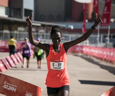 Caroline Kiptoo wins the 2018 Scotiabank Calgary Marathon women's race. (CNW Group/Scotiabank)