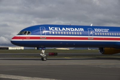 Icelandair celebrates 100 years of Icelandic sovereignty with the unveiling of a Boeing 757-300 bearing the Iceland national flag. Icelandair.com (PRNewsfoto/Icelandair)