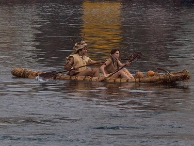 Salinan Tribe paddle in hand-crafted Tule Boat now on display at Morro Bay Maritime Museum.
