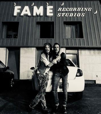 Steven Tyler & Nuno Bettencourt outside of FAME Recording Studios