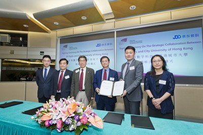 Xiaochun Shen, deputy general manager of risk management department at JD Digits, and Way Kuo, CityU President, attending the signing ceremony