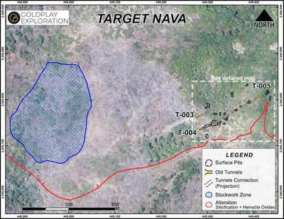 Figure 3 Nava Zone – Location of Tunnels, Old Workings and Stockwork Zone (CNW Group/Goldplay Exploration Ltd)