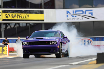 Arriving in FCA US dealerships now, the drag-oriented, street-legal 2019 Dodge Challenger R/T Scat Pack 1320 is National Hot Rod Association (NHRA) approved for competition in NHRA Stock and Super Stock Sportsman class competition for the 2019 season. Named for quarter-mile distance (1,320 feet), the showroom-stock Challenger R/T Scat Pack 1320 is the fastest naturally aspirated, street-legal muscle car, with quarter-mile elapsed time of 11.70 seconds at 115 mph.