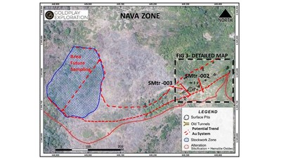 Figure 2 Nava Zone – Location of Tunnels, Old Workings and Stockwork Zone (CNW Group/Goldplay Exploration Ltd)