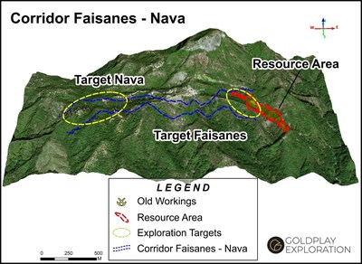 Figure 1 - Location Faisanes and Nava Targets in relation to current San Marcial Resource Area. (CNW Group/Goldplay Exploration Ltd)