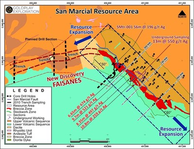 Figure 2 – Location of Planned Drill Sections - Faisanes Target (CNW Group/Goldplay Exploration Ltd)