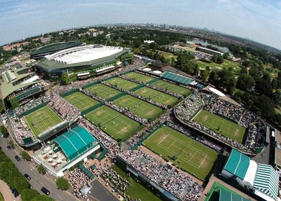 Look over the Wimbledon courts. Credit AELTC