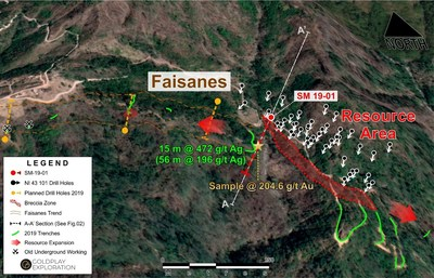 Figure 1: Drill Hole SM 19-01 Location at the Faisanes Target (CNW Group/Goldplay Exploration Ltd)