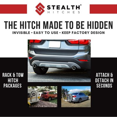 Stealth Hitches Audi A3 e-tron hitch. Well-designed, secure and easy to operate, Stealth's Audi A3 e-tron hidden hitch is equipped with an integral locking system and auto-latching technology that - eliminates the need for tools, - attaches and detaches in seconds, - provides a rust-free application, and - is completely hidden when not in use.