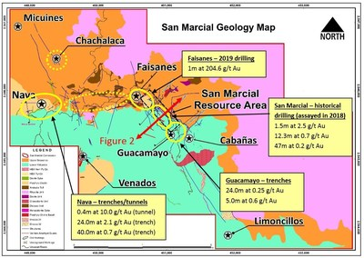 Figure 1: Gold potential at San Marcial - Best gold results to date from four priority targets (CNW Group/Goldplay Exploration Ltd)