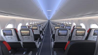 La cabine biclasse du Airbus A220 de Air Cabada comprendra 137 places, soit 12 en configuration 2-2 en Classe affaires et 125 en configuration 3-2 en classe économique. Le système de divertissements à bord eX1 de Panasonic, installé à chaque siège, proposera plus de 1 000 heures de contenu de grande qualité en 15 langues, dont l'accès au service de divertissements haut de gamme de Bell Media et Crave, ainsi que Stingray, un service audio multiplateforme canadien. (Groupe CNW/Air Canada)