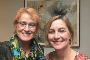 """Betty Folliard (host of AM 950's """"A Woman's Place"""") and the M's ED Kristin Makholm"""