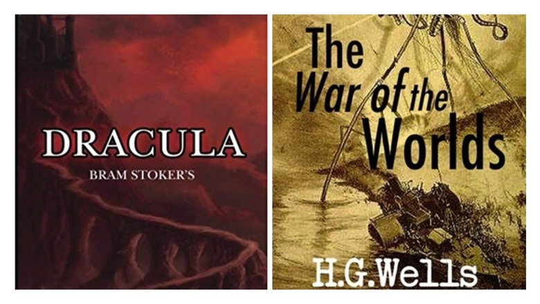 Images with text: Dracula Bram Stoker and The War of the Worlds H.G. Wels