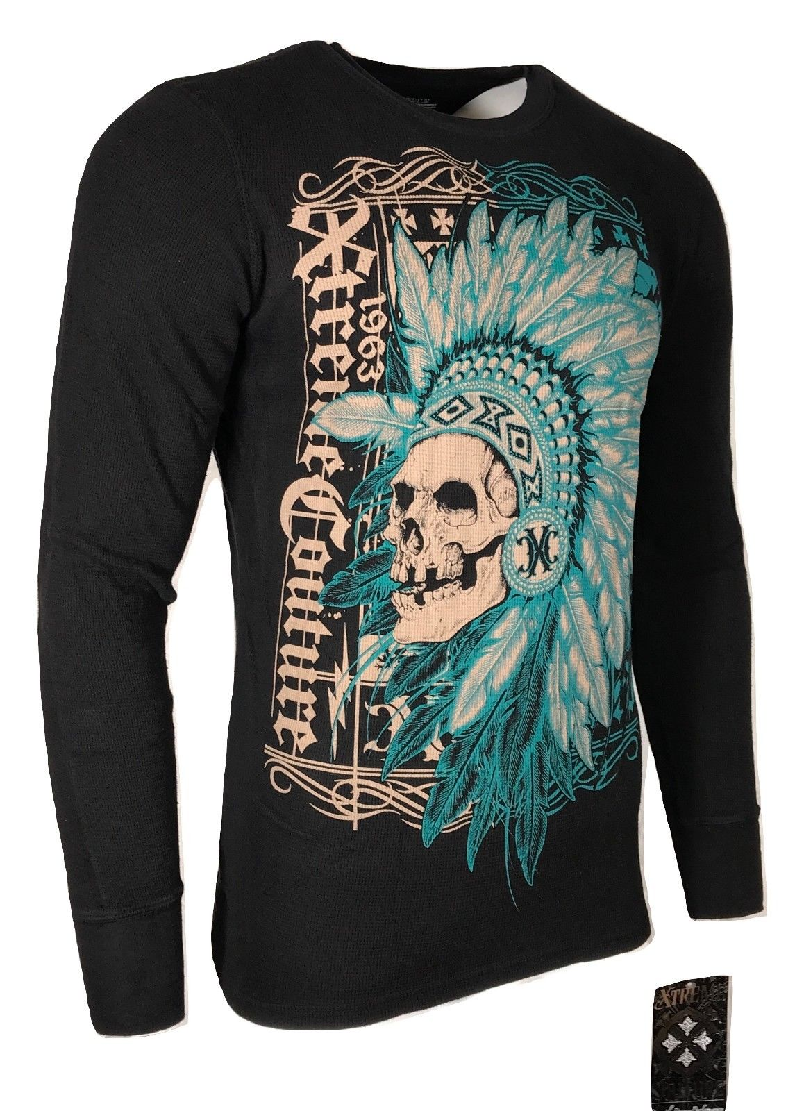 Xtreme Couture by AFFLICTION Men THERMAL T-Shirt ACCUSER Skull Biker MMA UFC $58