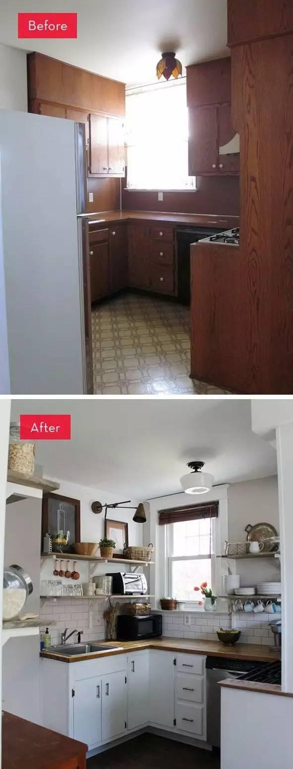 kitchen cabinets update ideas on a budget modern mat 花最少的预算和时间重装厨房 就按这个弄吧 设计联 1006期 自由 之前的厨房看起来黑暗 脏兮兮甚至还有点笨重 但经过改造一番之后 充满了阳光并且很通透的感觉 和第一个案例差不多 把之前沉重的橱柜拆了摆上开放式的架子 大量的