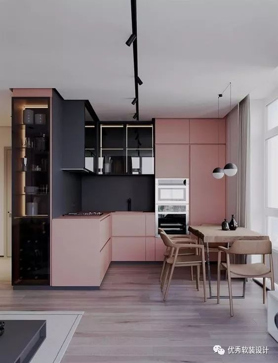 kitchen updates freestanding cabinet 秀色可餐 25例厨房装饰撞色设计参考 优秀软装设计 微信公众号文章阅读 粉红色和黑色的现代撞色风格和实木餐座椅让厨房更新时尚