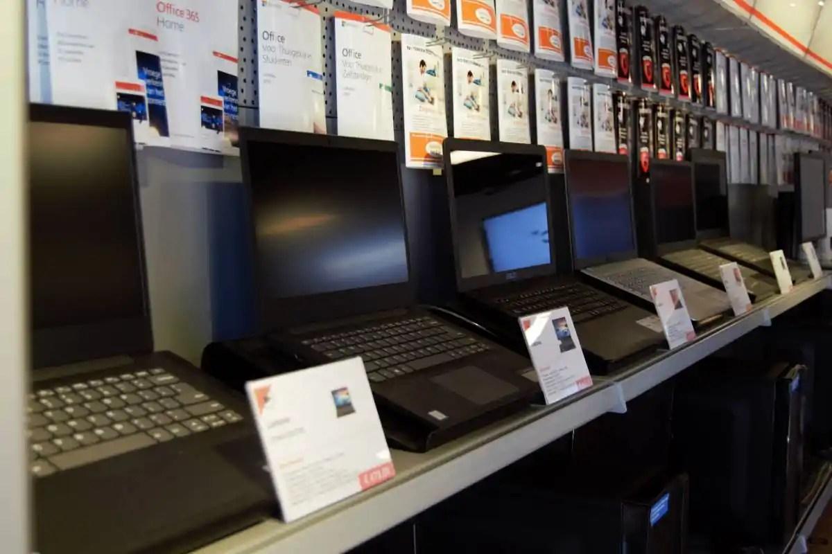 Selectie laptops in onze winkel.