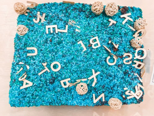 Here is an example of a find the letter sensory bin I created
