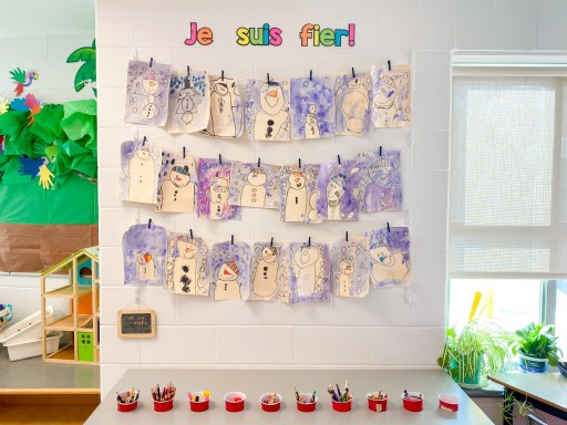 A display of our snowman directed drawings