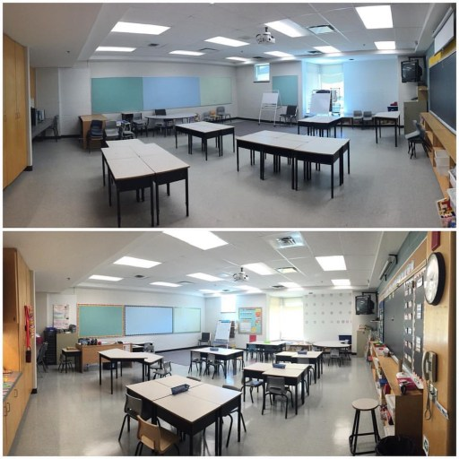 Before and after of a class setup (classroom decor). Ready for the first day of school
