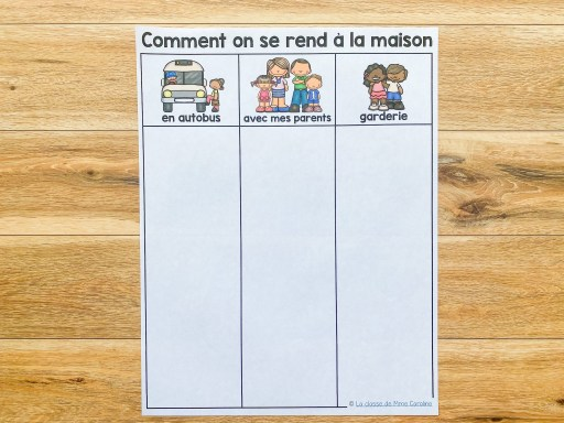 Organizational tool for the first day of school.