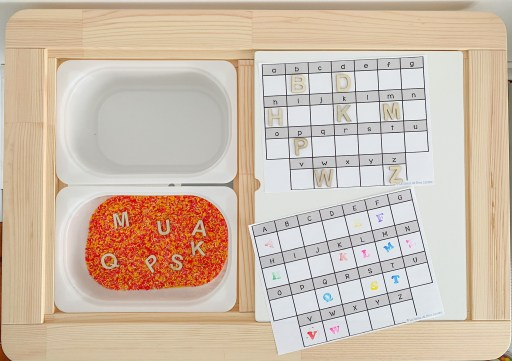 Alphabet sensory bin. Students must find the letter and stamp it.