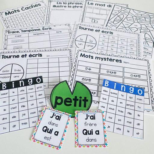 French sight word activity bundle. Les mots de haute fréquence.