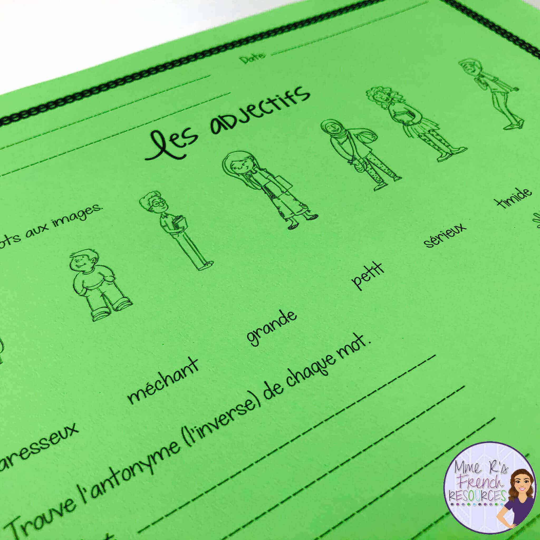 hight resolution of Teaching French adjectives   Mme R's French Resources