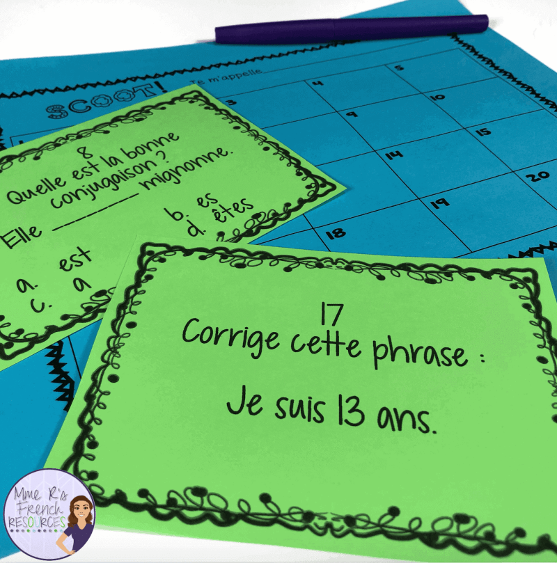 French task card scoot game for verbs avoir and être