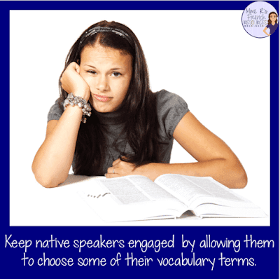 Native speakers have different vocabulary needs than other students.