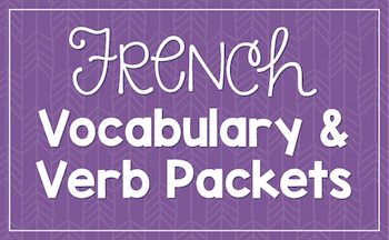 French vocabulary and verb worksheets