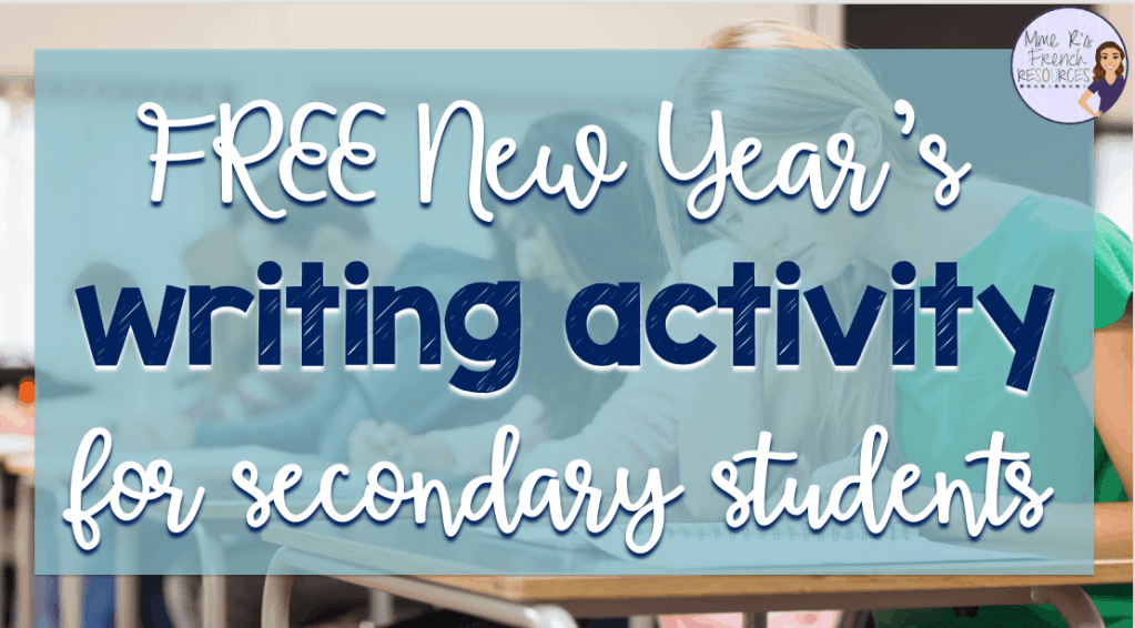 New Year's writing activity for secondary students