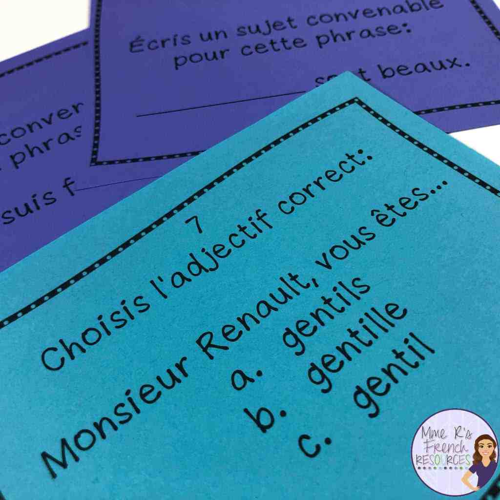 French-adjective-task-cards