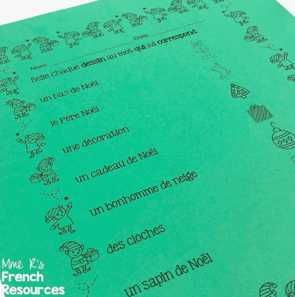 French-christmas-worksheets