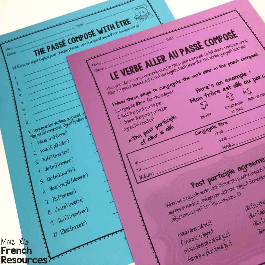 French worksheets for vocabulary and verbs   Mme R's French Resources [ 1024 x 1024 Pixel ]