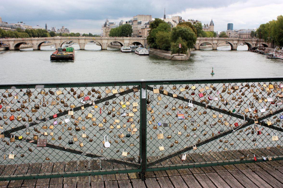 damals: Pont des Arts mit Liebesschlössern
