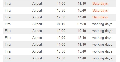 timetable santorini