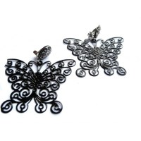 Black Earrings, Big Black Earrings, Butterfly Earrings ...