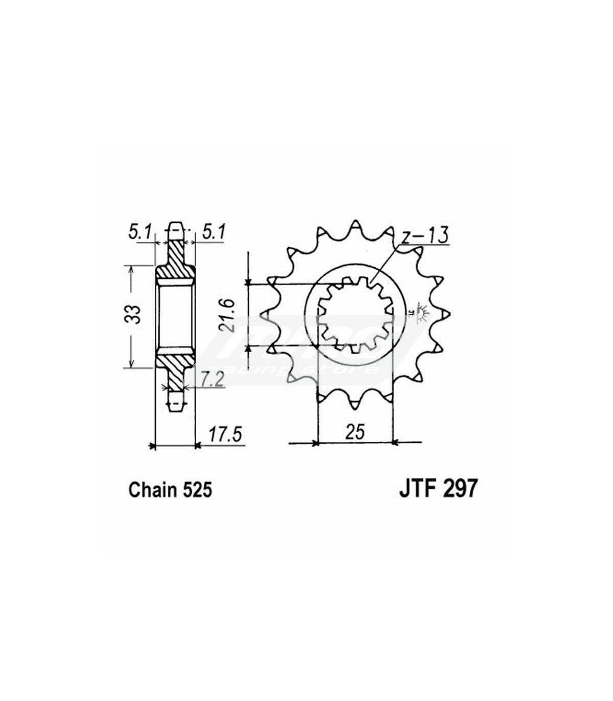 FRONT SPROCKET JT 297 HONDA CB500 / VFR 400 NC30-NC35
