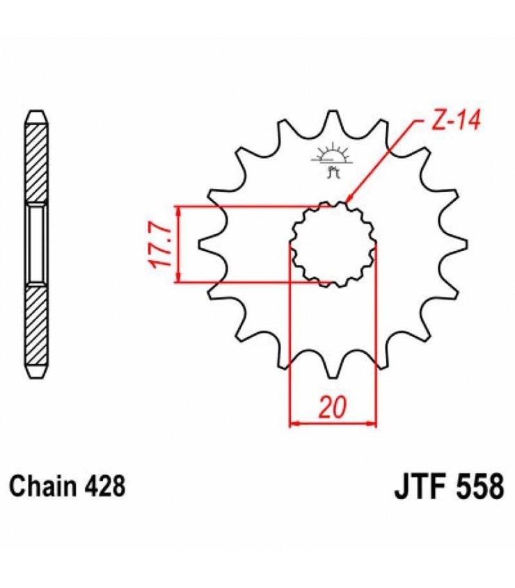 PIÑON JT 558 DERBI GPR 125 / YAMAHA DT 125 X / YZ 85