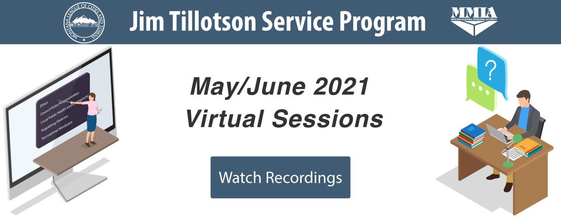 Jim Tillotson Service Program: May/June 2021 Virtual Sessions. Learn more