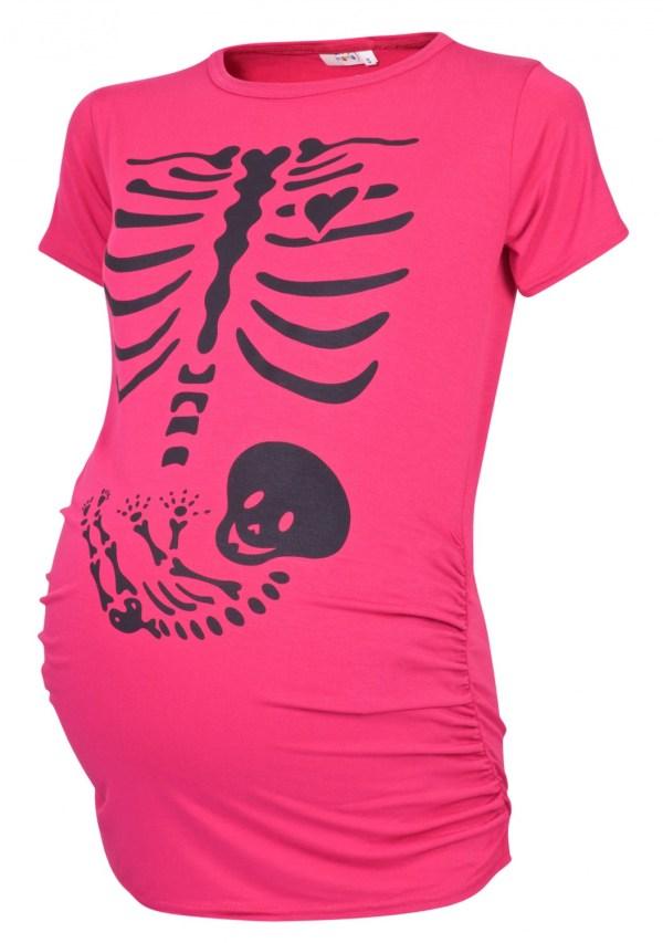 Halloween Baby Skeleton Maternity Shirt