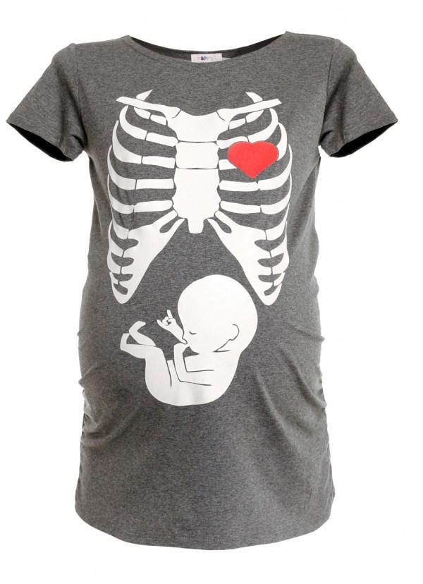 Halloween Maternity Skeleton Shirt